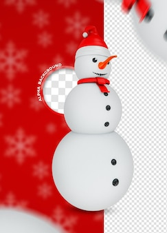 Render 3d de personaje de muñeco de nieve para composición navideña