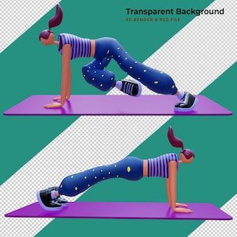 Render 3d de personajes de dibujos animados de mujer haciendo yoga deporte concepto diseño de ilustración 3d