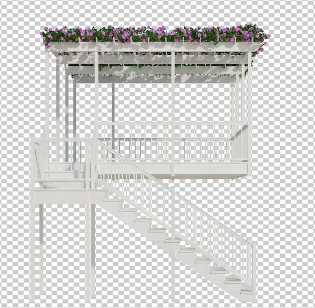 Render 3d de plantas de hiedra aislado sobre fondo blanco.