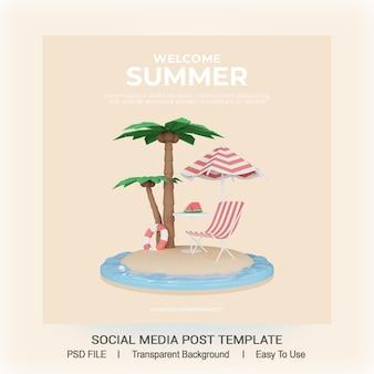 Render 3d plantilla de publicación de redes sociales de verano