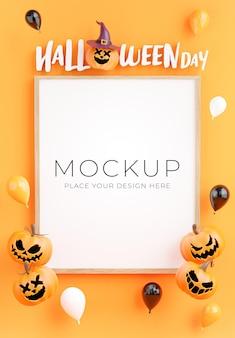 Render 3d de póster o marco con concepto de compras feliz halloween para exhibición de productos