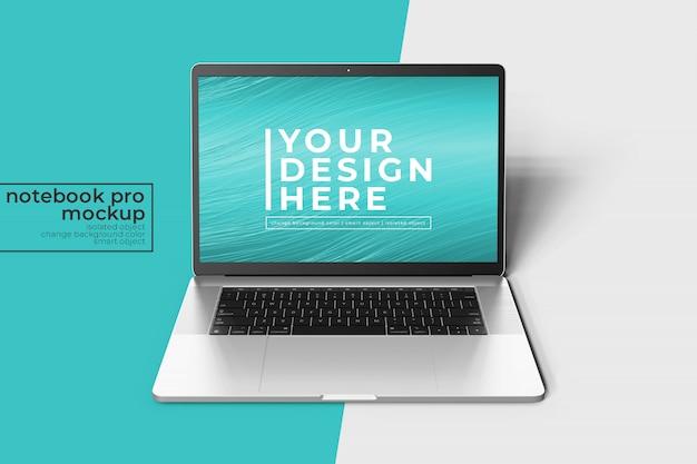 Render 3d premium fácil de cambiar, portátil de 15 pulgadas pro para maqueta web, ui ux y aplicaciones en vista frontal