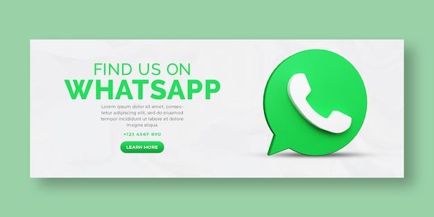 Render 3d promoción empresarial de whatsapp para la plantilla de portada de facebook de redes sociales