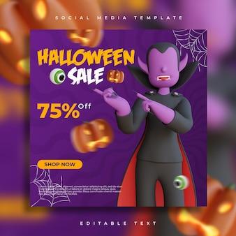 Render 3d de redes sociales de venta de fiesta de halloween con plantilla de volante de ilustración de personaje de vampiro