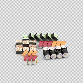 Render 3d de sushi