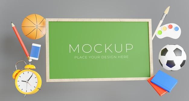 Render 3d de tablero verde con concepto de regreso a la escuela para la exhibición de su producto