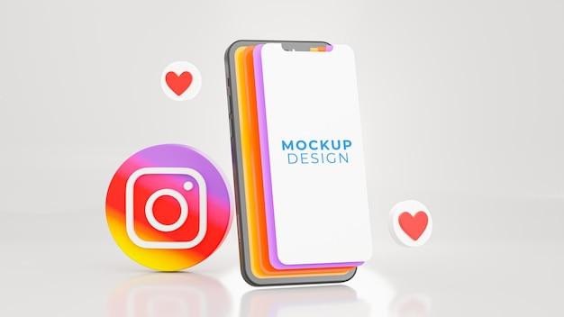 Render 3d de teléfono inteligente con maqueta de instagram de icono