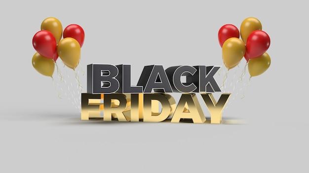Render 3d de texto black friday en negro y dorado con globo renderizado en 3d