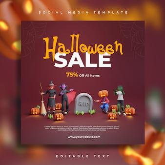 Render 3d, venta de fiesta de halloween feliz, redes sociales con plantilla de volante de ilustración de personaje aterrador