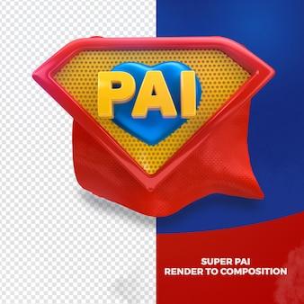 Render 3d verliet superheld vader voor campagne in het portugees