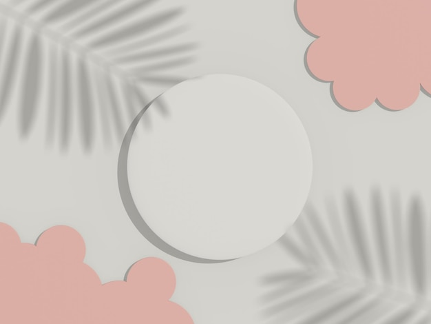 Render 3d de la vista superior del marco del cilindro en blanco blanco para maquetas y exhibir productos