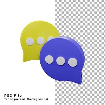 Render de alta calidad de icono de chat de burbuja de círculo 3d PSD Premium