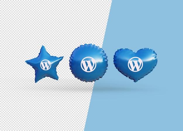 Render wordpress pictogram ballonnen geïsoleerd