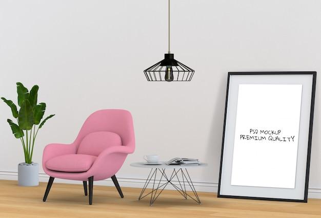 Rendering 3d di living room mockup