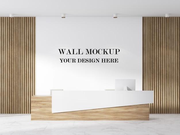 Rendering 3d mockup parete moderna area reception