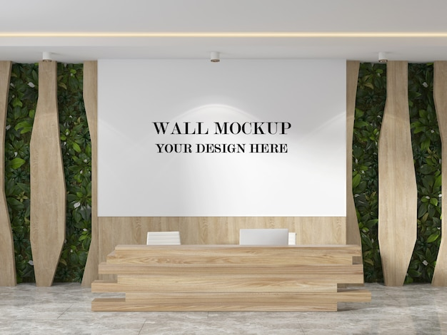 Rendering 3d mockup parete moderna lobby