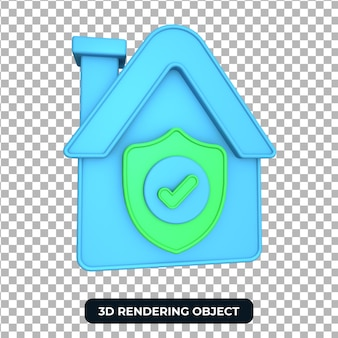 Rendering home safty 3d-object transparante achtergrond