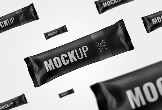 Rendering realistico di mockup barretta di cioccolato lungo bustina