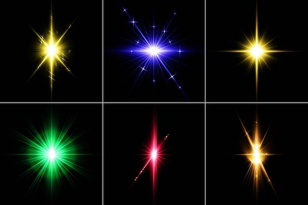 Renderizado del diseño del paquete lens flares