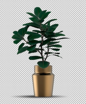 Renderizado realista de plantas en macetas aisladas