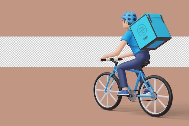 Repartidor de bicicletas mensajero con caja de paquetería en la parte posterior en 3d rendering