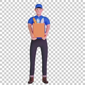 Repartidor con bolsa de supermercado ilustración 3d