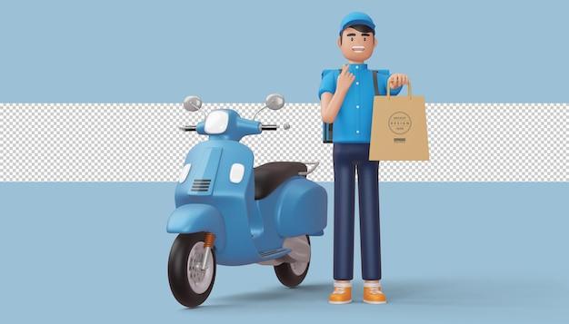 Repartidor haciendo mini corazón con las manos y sosteniendo una bolsa de compras, render 3d