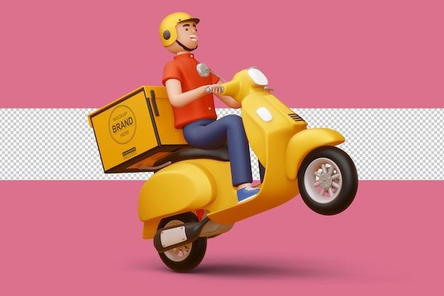 Repartidor en motocicleta con caja de entrega en renderizado 3d