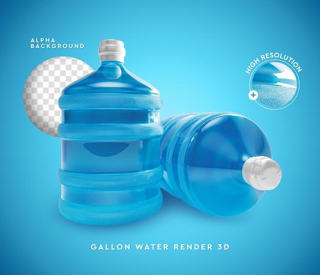 Representación 3d de agua de dos galones aislada