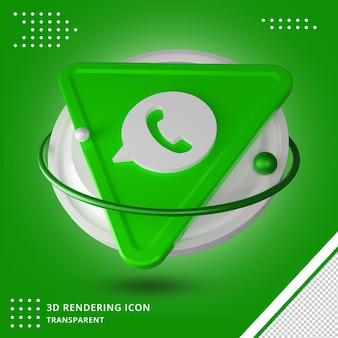 Representación 3d de la aplicación de redes sociales del logotipo de whatsapp