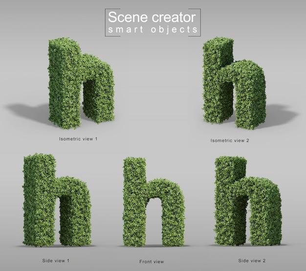 Representación 3d de arbustos en forma de letra h