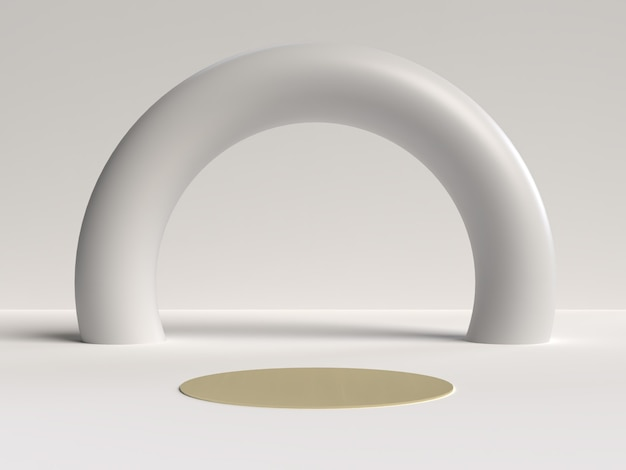 Representación 3d en blanco y dorado del podio de forma de geometría de escena abstracta para exhibición de productos