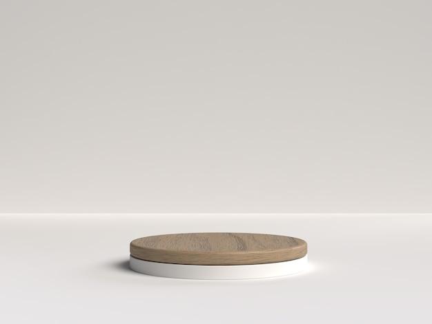 Representación 3d en blanco y madera del podio de forma de geometría de escena abstracta para exhibición de productos