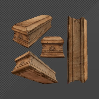 Representación 3d de caja de ataúd de madera marrón vieja polvorienta y sucia desde la vista en perspectiva