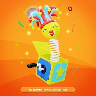 Representación 3d de la caja sorpresa del día de los inocentes con emote aislado