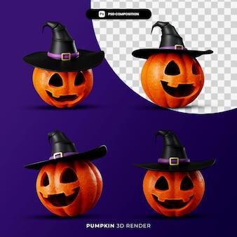 Representación 3d de calabaza de gatos en concepto de halloween de sombrero de bruja con ángulo diferente aislado