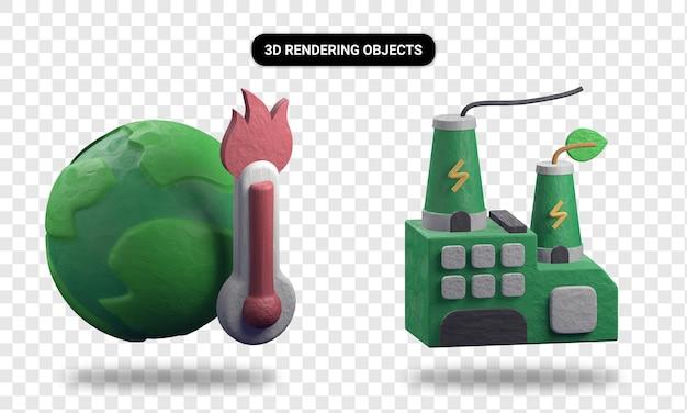 Representación 3d de calentamiento global y fábrica verde