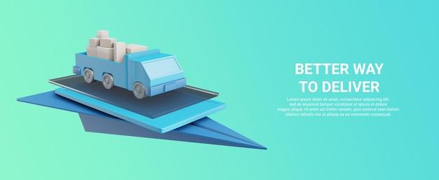 Representación 3d de un camión que transporta mercancías en un dispositivo o avión de papel