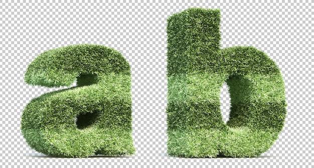 Representación 3d del campo de juego de césped alfabeto ay alfabeto b