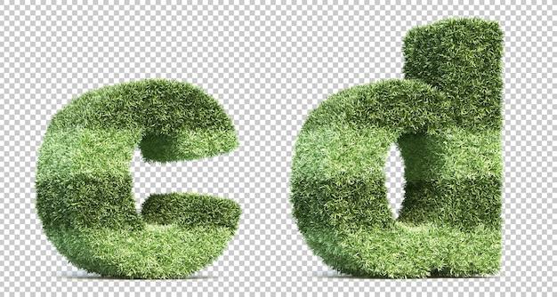 Representación 3d del campo de juego de césped alfabeto cy alfabeto d