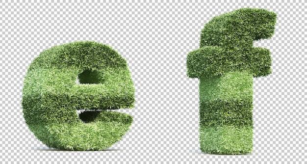 Representación 3d de campo de juego de césped alfabeto ey alfabeto f