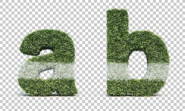 Representación 3d del campo de juego de hierba alfabeto a y alfabeto b