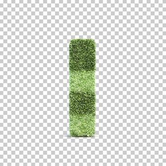 Representación 3d del campo de juego de hierba alfabeto i