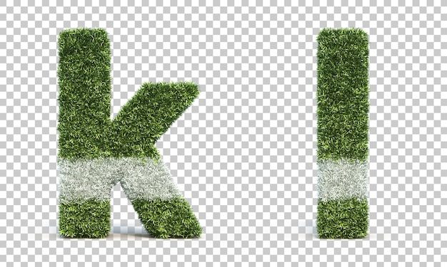 Representación 3d del campo de juego de hierba alfabeto k y alfabeto l