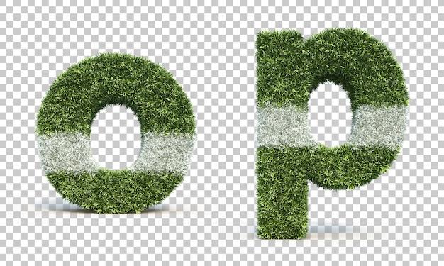 Representación 3d del campo de juego de hierba alfabeto o y alfabeto p