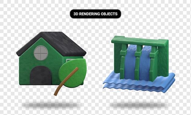 Representación 3d de la casa verde y la energía hidroeléctrica.