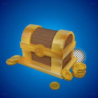 Representación 3d del cofre del tesoro dorado