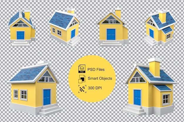 Representación 3d de la colección amarilla pequeña casa de dibujos animados