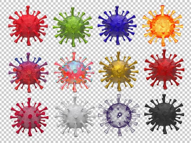 Representación 3d de la colección de virus corona