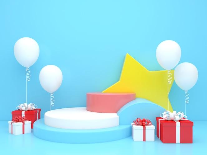 Representación 3d en color pastel maqueta de feliz navidad y feliz año nuevo